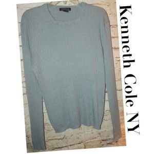 Light Blue Ribbed Sweater Kenneth Cole NY